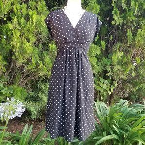 Vintage Inspired Polka Dot Midi Dress
